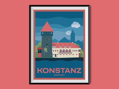 Konstanz tower konstanz lake constance germany travel poster design poster flat illustration architecture house city illustration city