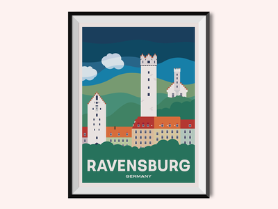 Ravensburg graphic design place ravensburg germany cityscape city poster design poster illustration ill