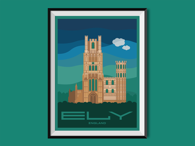 Ely cambridge city place church cathedral poster design poster england illustration