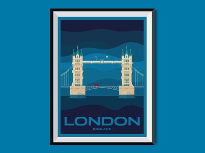 London 2017 tower bridge flat bridge london england city poster poster design illustration