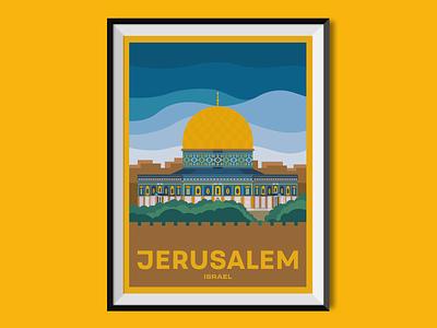 Jerusalem landmark jerusalem israel city travel poster travel poster design poster graphic design illustration
