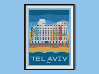 Tel Aviv beach israel city sight city travel poster poster design poster illustration