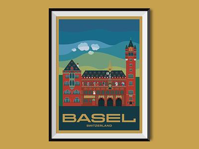 Basel basel switzerland flat design town hall city travel poster poster design poster illustration