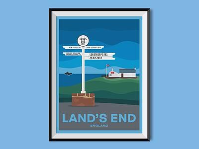 Land's End flat design seaside england travel poster poster design poster illustration