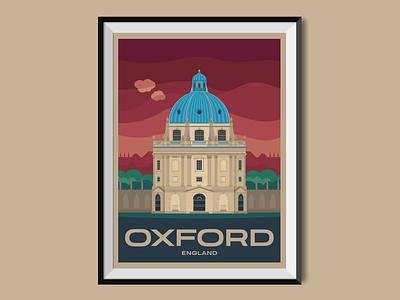 Oxford united kingdom oxford england travel poster poster design poster illustration