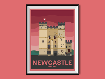 Newcastle tourism castle tower newcastle england travel poster poster illustration