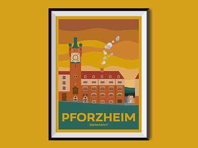Pforzheim city sight church germany travel poster illustration poster design poster