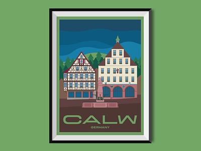 Calw old town timber-frame city black forest calw hermann hesse travel poster poster illustration