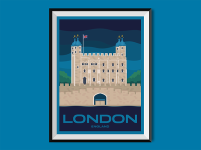 London castle tower london journey england travel poster poster illustration