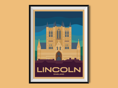 Lincoln holiday journey history cityscape sight cathedral lincoln england travel poster illustration