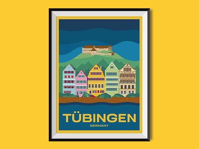 Tübingen sights holiday historic romantic timberframe street buildings germany travel poster illustration