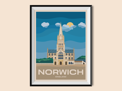Norwich illustration illus sight holiday united kingdom norwich cathedral england church travel poster