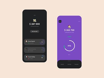 Financial Goal-Saving Application 14 goals ux ui transaction money management money mobile iphone ios invest interface fintech finance data card banking bank apple app