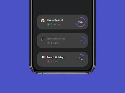 "App ""Dashboard"" Cards - Dark / Light ux ui money money management iphone mobile save ios invest interface fintech finance design data card banking bank application apple app"