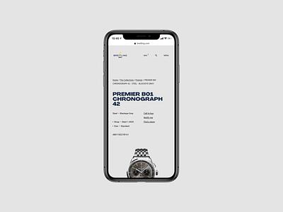 Breitling PDP - Mobile ux ui watches watch shop pdp mobile website page web minimal landing grid ecommerce design