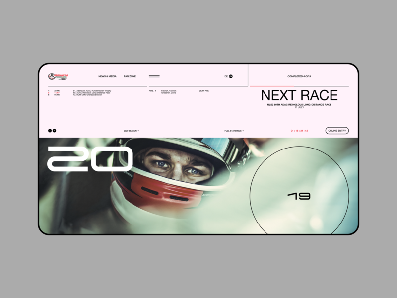 The Nürburgring Endurance Series driver drive series cars car racing website web ux ui minimal page landing grid design clean