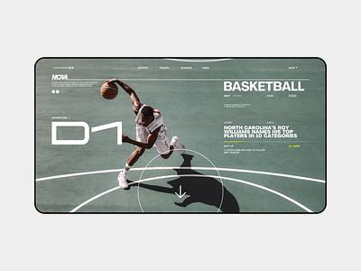 National Collegiate Athletic Association / NCAA hockey nfl baseball website web header hero fold ux ui sport page minimal landing grid design clean college basketball