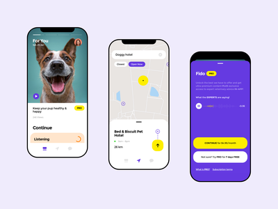 Pets Mobile App paywall discover store cats dogs animal map animals product shop apple pet maps 14 ios app minimal design ux ui