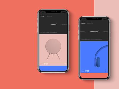 B&O Play App UX UI apple dark ios beoplay website bang  olufsen earphones headphones speakers responsive web minimal