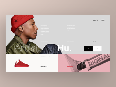 Adidas Originals Collaborations Website - Pharrell ui  ux artist nike page landing sneakers concept app design web shoes shoe