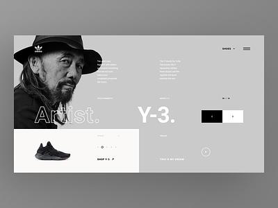 Adidas Originals Collaborations Website - Yohji ui web ui  ux sneakers shoes page nike landing design concept app shoe