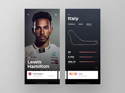 Formula One F 1 App Redesign (F1) race website bull red web design ferrari mercedes car racing ui dashboard