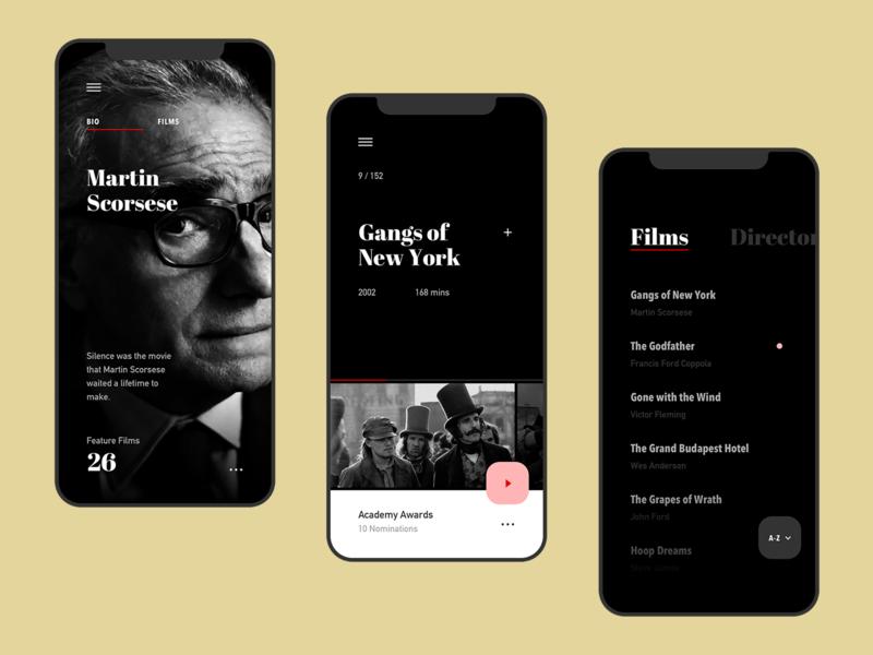 Film Club App gallery menu dark ios apple ux ui netflix movie film design art