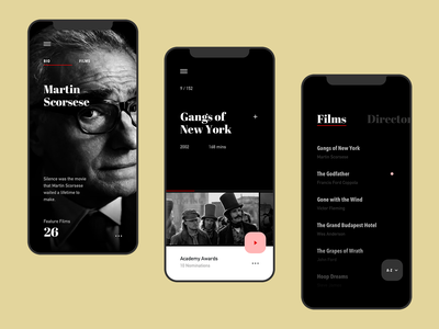 Film Club App gallery menu dark ios apple ux ui netflix movie film design art