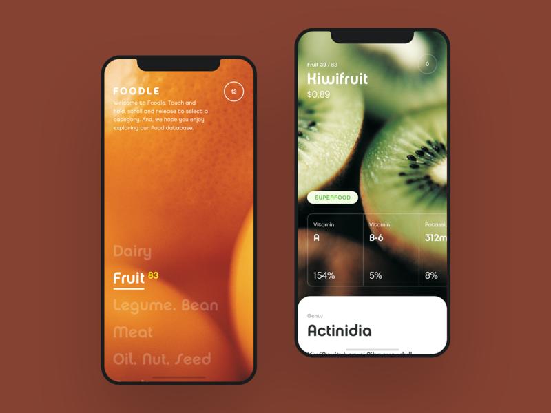 Food Nutrition & Information App interface 14 ios14 nutrition food vegetable list grocery dashboard fruit data ux ui design ios apple