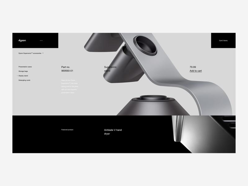 Dyson Product Accessories Page -  Desktop Website tech premium ux ui design web british shop minimalism minimal ecommerce