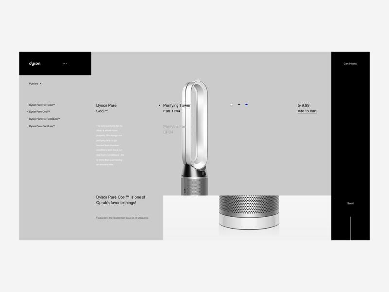 Dyson Product Page - Desktop Website landing web ux ui tech shop product premium minimal ecommerce design british