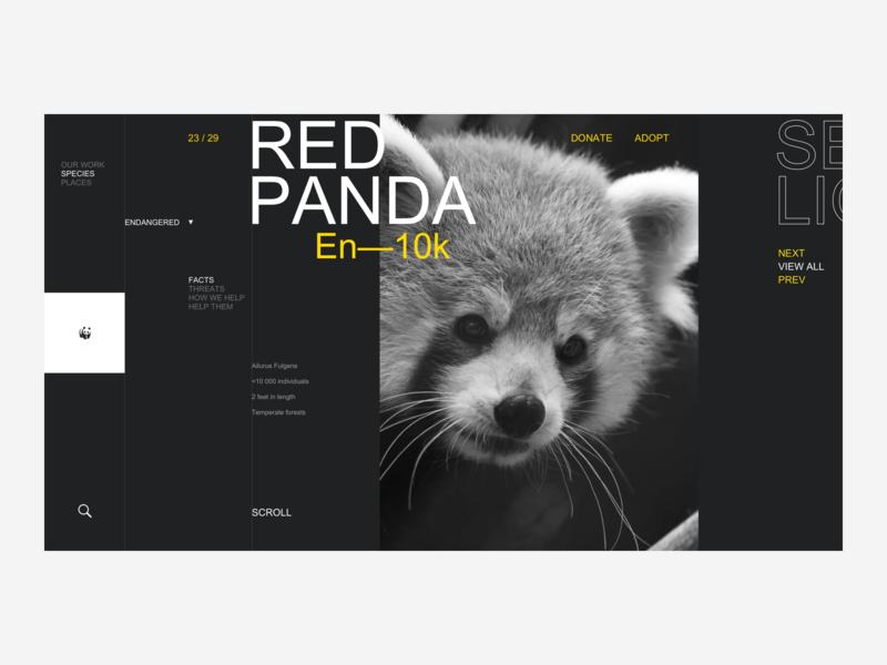 WWF Website Redesign - Endangered Species wildlife wild animals web ux ui photography non-profit page landing grid design animal