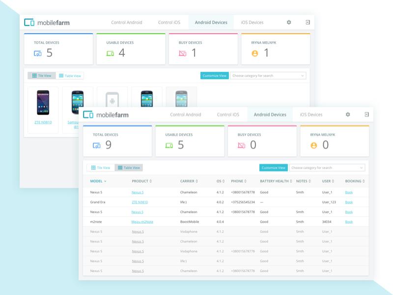 Mobilefarm app interface
