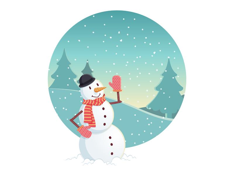 Snowman christmas vector illustration winter character snowman