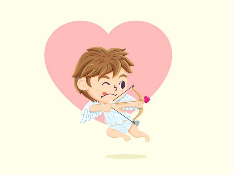 Cupid heart cute cartoon design character valentines day love cupid