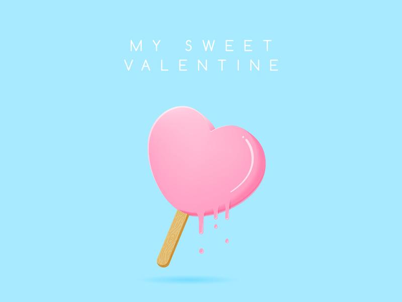 Heart Shaped Popsicle vale illustration popsicle ice cream love heart