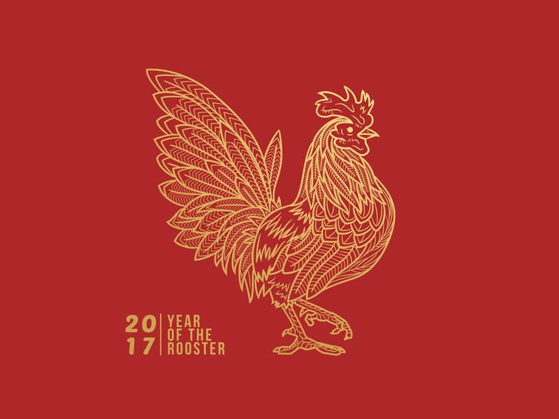 Rooster Year gold line illustration chinese new year rooster