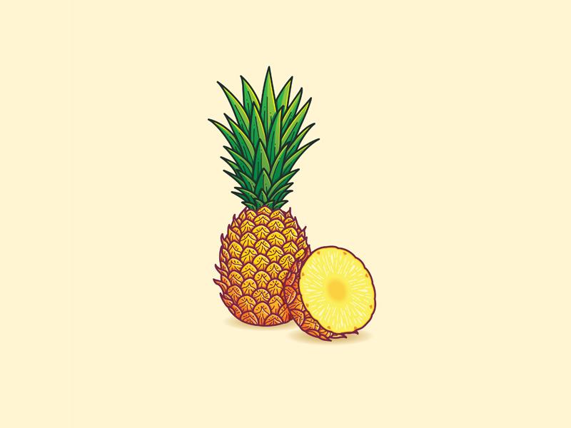 Pineapple tropical illustration vector fruit pineapple