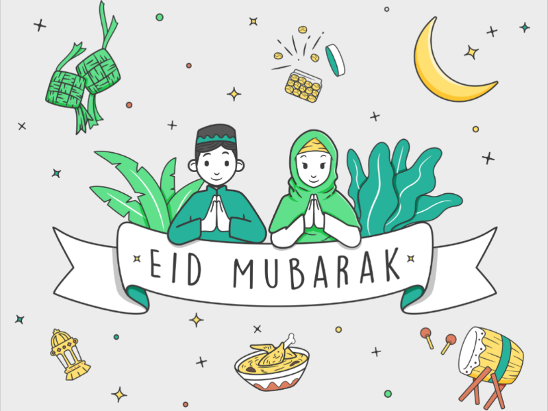 Idul Fitri Illustration greeting character idul fitri eid mubarak vector illustration