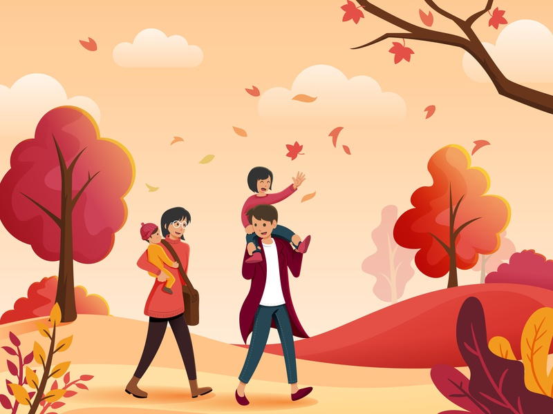 Family Autumn landscape character design daughter children mom dad kid people family fall autumn vector illustration