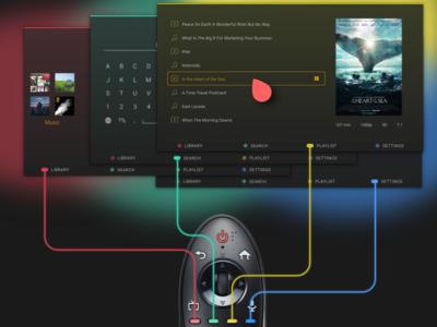 PLEX TV davidgor ux ui tv sketch remote plex lg dark app