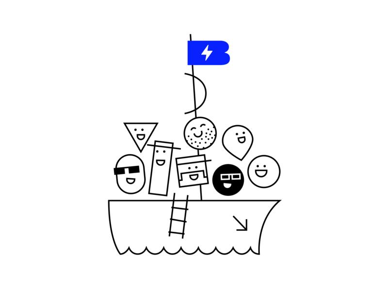 Team Ship vector flat illustration