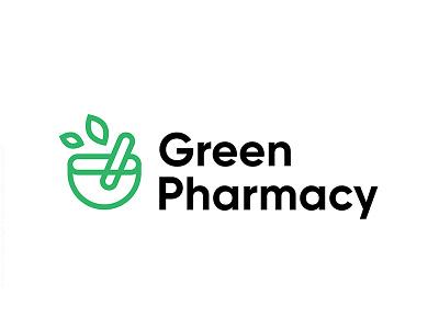 Green Pharmacy brand logo nature mark logotype natural illustration icon pharmacy green symbol