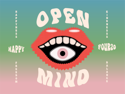 Happy 420 psychedelic mouth eye weed open mind 420