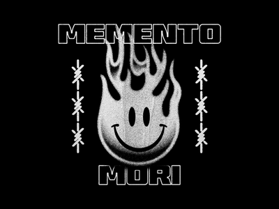 Memento Mori barbed wire chain illustrations flames smiley face memento mori