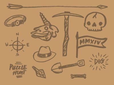 The Dig doodles unicorn archaeology ancient skull bone arrowhead pickaxe shovel puzzle headlamp flag compass