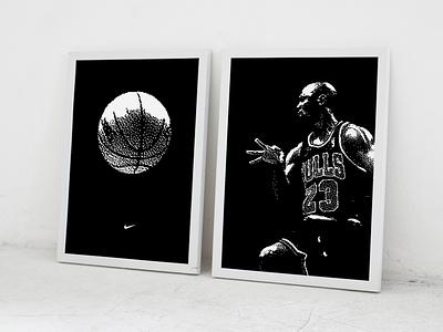 MJ Diptych Prints dither 8bit mj basketball michael jordan poster print illustration