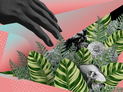 THNX Ep hands palm fern tiger scan digital collage collage
