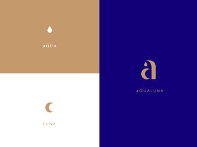 aQUALUNA a water moon luna aqua classy monogram logo restaurant identity branding