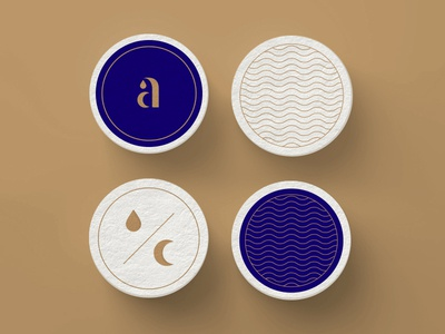 aQUALUNA coasters a water moon luna aqua classy monogram logo restaurant identity branding